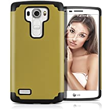 LG G4 Case, MagicMobile (Gold/Black) Dual Layer Color - Slim Hybrid Shockproof Silicone Protective Case For LG G4 - Scratch & Impact Resistant, Anti-Dust Protection Rugged Tough Cover