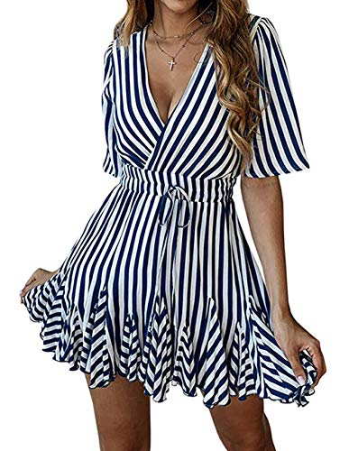 PRETTYGARDEN Women's Sexy Deep V Neck Short Sleeve Striped Wrap Ruffle Hem Pleated Mini Dress with Belt (Navy, Medium)