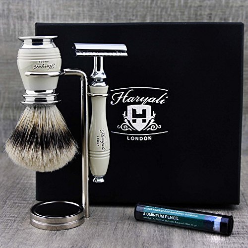 - Top Old School Shaving Set for Men ft Top Grade Silver Tip Brush, DE Safety (Blades Not Included) & Chrome Dual Stand > Gent's Grooming Set