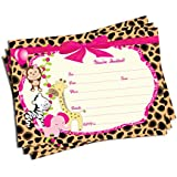 50 Girl Pink Jungle Invitations and Envelopes (Large...