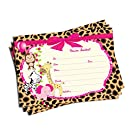 50 Girl Pink Jungle Invitations (5x7)- Baby Shower - Birthday Party - Any Occasion