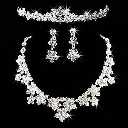 95d8d5e002d5 Brussels08 - Juego de joyería para mujer con diamantes de imitación de  lujo, para boda, novia, flor, corona, babero, collar, pendientes colgantes  y ...