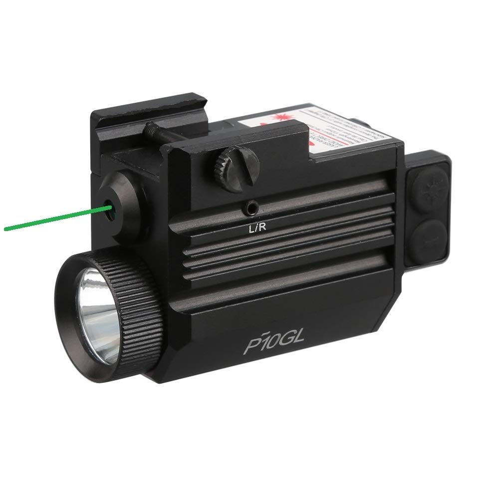 HiLight P10GL 500 lm Strobe Pistol Flashlight & Green Laser Sight Combo (Hard Anodized Aircraft Grade Aluminum USB Rechargeable Built-in Battery) for Compact Pistols Handguns by HiLight