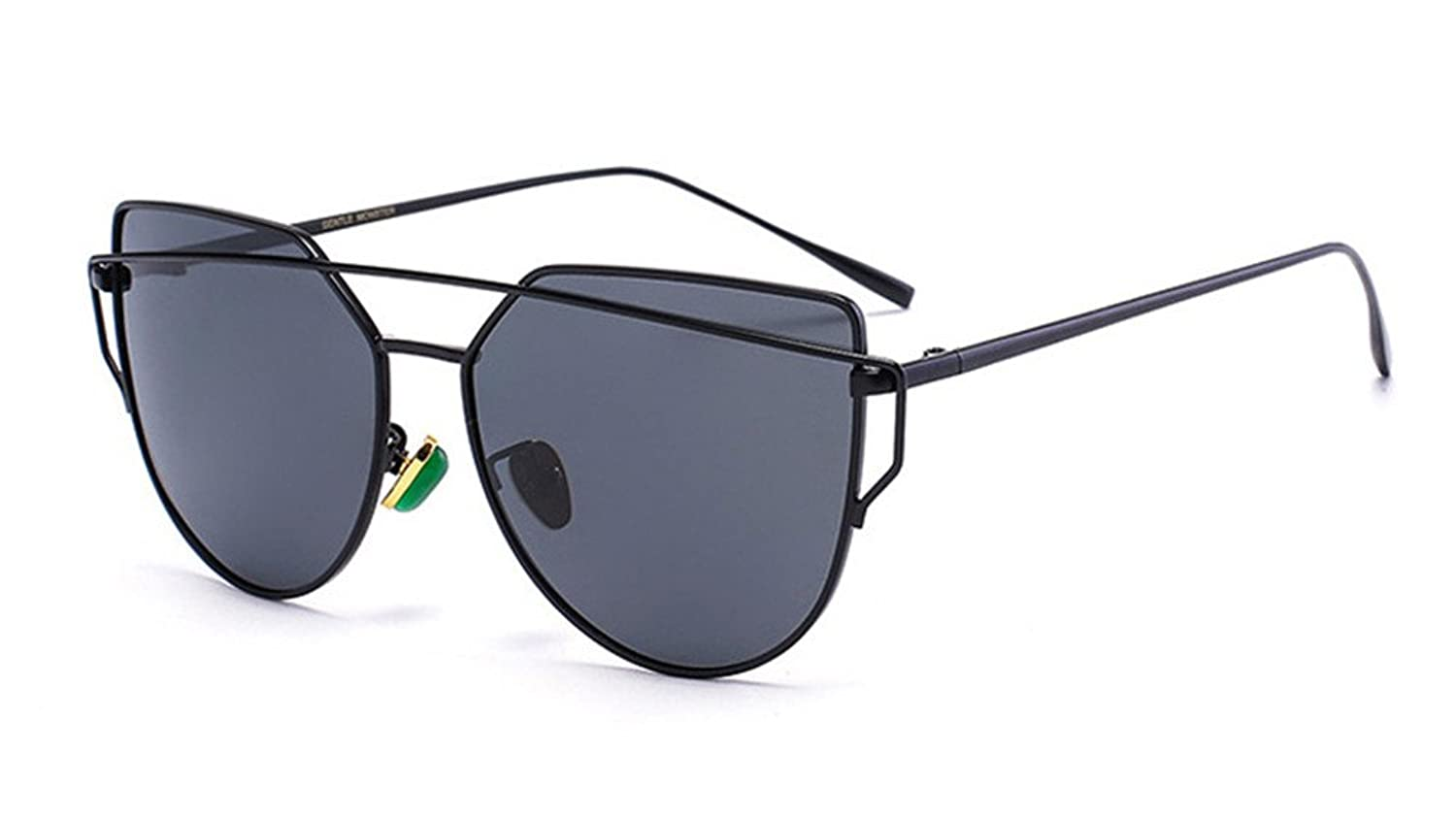 LY Women's Polarized classic sunglasses with metal frame green jewel nose bracket