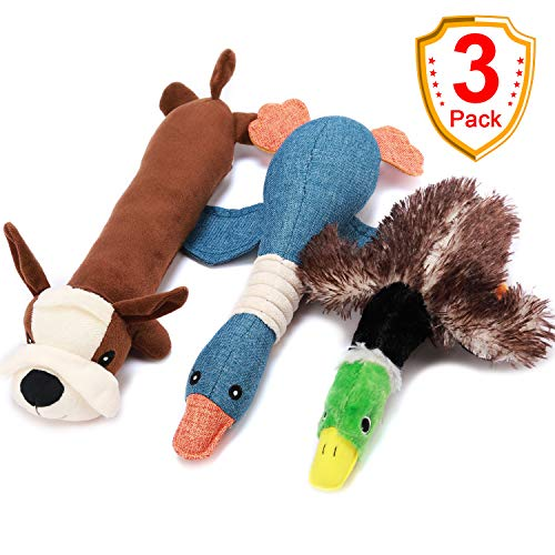 Duck Dog Toy, Dog Stuffed Animals Chew Toy Dog Hunting Toys with Classic Mallard Duck Style Plush Squeaky Dog Toys Puppy Chew Toys for Small Medium Dogs 3 Value Pack