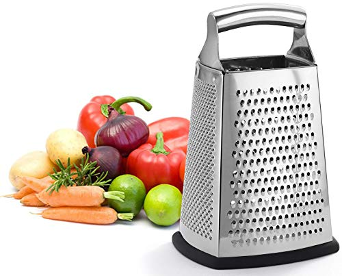 (Professional Box Grater, 100% Stainless Steel with 4 Sides, Best for Parmesan Cheese, Vegetables, Ginger, XL Size)