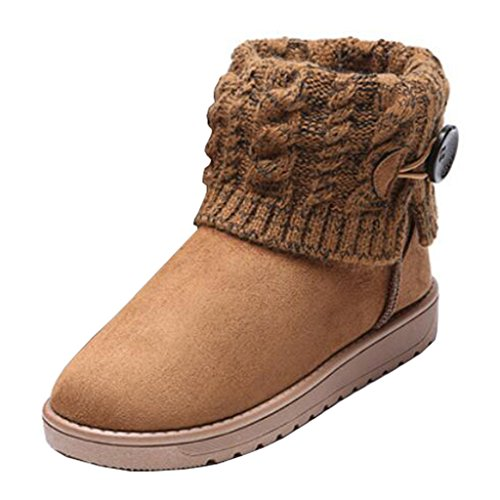 Binying Women's Suede Snow Button Brown Boots Knit Flat r7Iqrd