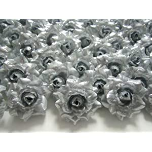 "(100) Silk Silver Roses Flower Head - 1.75"" - Artificial Flowers Heads Fabric Floral Supplies Wholesale Lot for Wedding Flowers Accessories Make Bridal Hair Clips Headbands Dress 7"