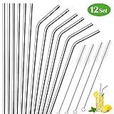 Stainless Steel Straws,ELECOOL Set of 12 Reusable & Ultra Long Metal Drinking Straws for 30 20oz Tumbler Bonus 4 Cleaning Brush