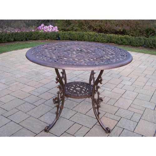 Oakland Living Mississippi Cast Aluminum Dining Table, 42-Inch, Antique Bronze