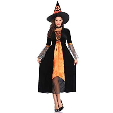 Hzjundasi Disfraz Halloween Bruja Mujer Costume Cosplay Adulto ...