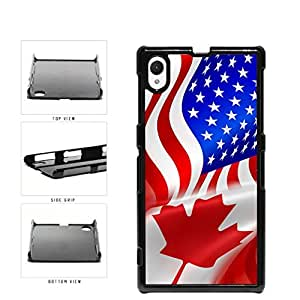 Canada and USA Mixed Flag Plastic Phone Case Back Cover Xperia Z1