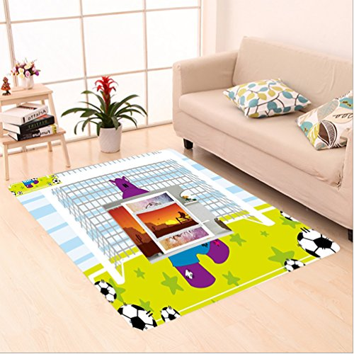 Nalahome Custom carpet s Decor Cute Hippopotamus Soccer Goal Keeper Football Cartoon Print Apple Green Baby Blue Purple area rugs for Living Dining Room Bedroom Hallway Office Carpet (5' X 7') by Nalahome