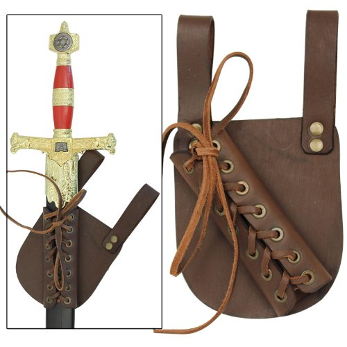 Laced Sword - Medieval Renaissance Laced Pen Dragon Genuine Real Leather Right Hand Sword Frog Brown