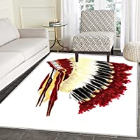 Native American Area Rug Original Ethnic Symbolic Mystic Eagle Feather Headdress Indian Life Style Indoor/Outdoor Area Rug 2x3 White Red Black