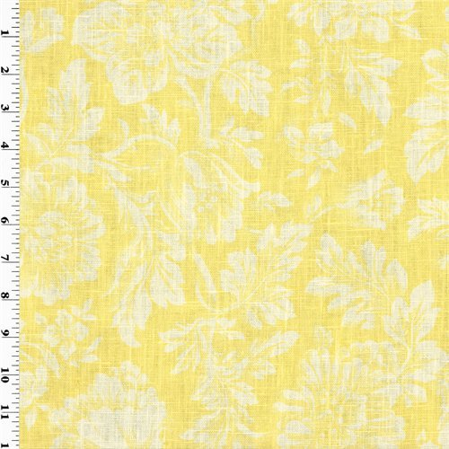 Yellow Floral Print Vintage Linen Home Decorating Fabric, Fabric By the Yard ()