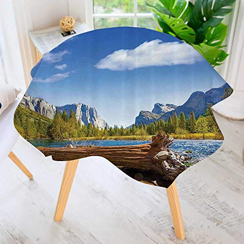 Jack Fusion Dome (Philiphome Round Tablecloth Polyester- Yosemite Merced River Capitan and Half Dome in California Natial Park Wate Great for Buffet Table, Parties, Holiday Dinner & More 59