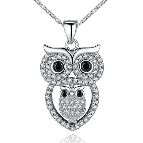 YAXING 925 Sterling Silver Mother and Child Crystal Owl Bird Pendant Necklace 18