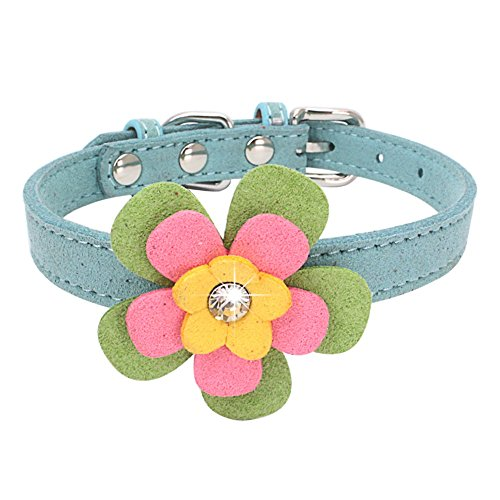 Stock Show Cute BlingBling Diamond Flower Pattern Pet Collar Soft Velvet Adjustable Puppy Kitten Collar Fashion Floral Necklace for Small Dogs Cats, Fits for 8-11, (Heart Pattern Personalized Heart)