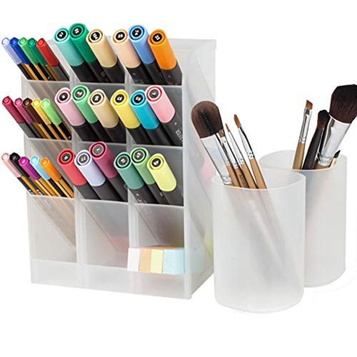 5 Pack Desk Organizer,Desktop Pen Holders,3 Candy Racks and 2 Cups for Pen,Pencil,Make up Tools(14 Compartments) (White)