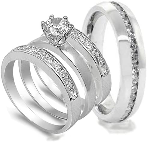 Details about  /His /& Hers White Stainless Steel Princess CZ Wedding Set Tungsten Men Band YI