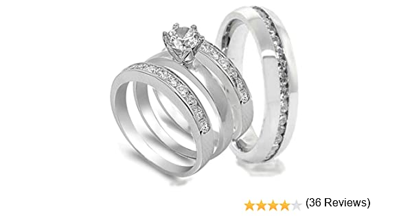 Amazon.com: 4 pcs His and Hers STAINLESS STEEL wedding engagement ring set (Size Mens 10 Womens 5): Anillos De Matrimonio De Oro Blanco: Jewelry