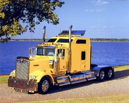 Yellow Kenworth Semi Big Rig Diesel Truck Wall Decor Art Print Poster (16x20) (Semi Truck Wall Art)