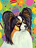 Caroline's Treasures LH9435CHF Papillon Easter Eggtravaganza Flag Canvas, Large, Multicolor