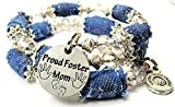 Proud Foster Mom Distressed Denim Bead Wrap Bracelet, Fits up to 8 Inches