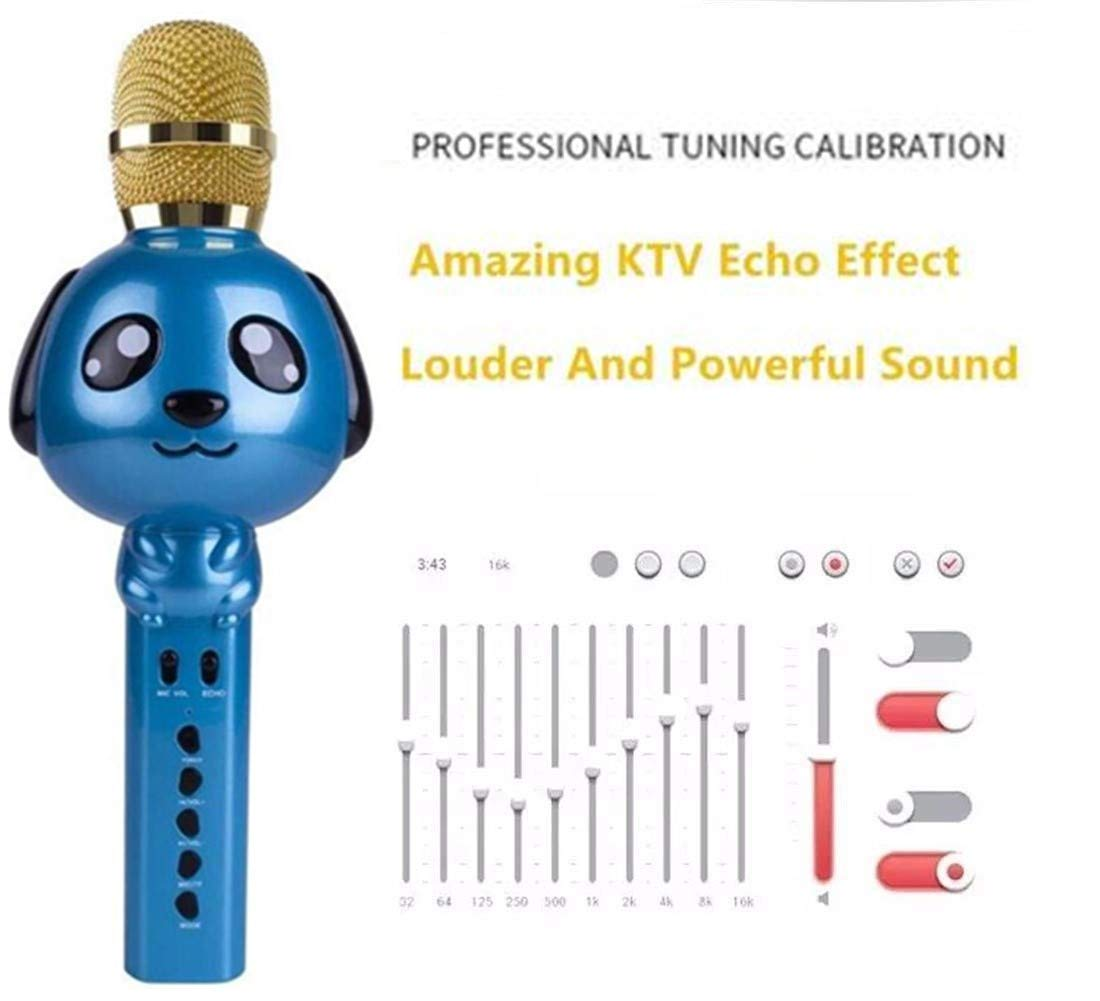 Wireless Karaoke Microphone for Kids Bluetooth Mic Portable Handheld Karaoke Machine for Kids Singing KTV Parties Boys Girls Parties Christmas or Birthday Gifts Toys iPhone Android PC (Blue) by Rhllxzo (Image #2)