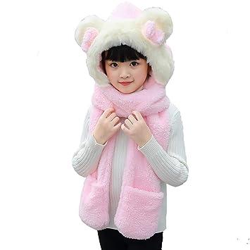 Tukistore Bonnet+Echarpe+Moufles Enfants Peluche Set de 3 Pièces Garçon  Fille Souple Chapeau 22333cdfa5b
