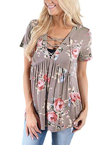 Floral Design Short Sleeve Top - 4