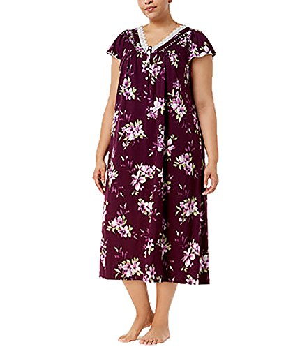 Club Nightgown Charter Cotton (Charter Club Plus Size Cotton Lace-Trim Nightgown, Floral Vineyard, 1X)