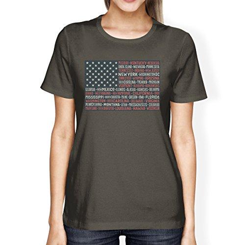 One Size manga de 50 mujer States corta Printing 365 Flag Camiseta para Us AOx8w0HCq