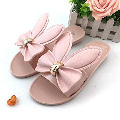 Omiky® Frauen Sommer Strand Schuhe Frau Hausschuhe Flat Heels Flip Flops Sandalen Rosa