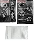 MOLDS AND THINGS HUGGING COUPLES Adult Chocolate Candy Mold & Lady Lolly Adult Chocolate Candy Mold + Copyrighted Molding Instructions + 25 STICKS