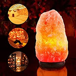 Natural Himalayan Crystal Salt Lamp on Wooden Base, Baihe Hand Carved Rock Salt Lamps with Dimmer, Air Purifying Lamp Easier to Breath and Relax, Great for Yoga and Meditation