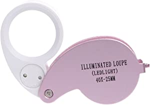 Snowmanna-40x 25mm Illuminated Eye Loupe Jewelry Magnifier Magnifying Glass Jewelry Loupe Tool with Dual Led Lighting (Pink)