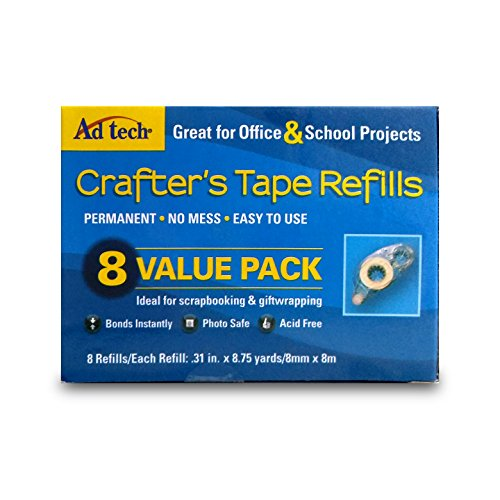 AdTech 05674 Permanent Crafter's Tape Refills, 8 Pack, Blue Box, Scrapbooking Supplies, Clear (Best Tech Under 25 Dollars)