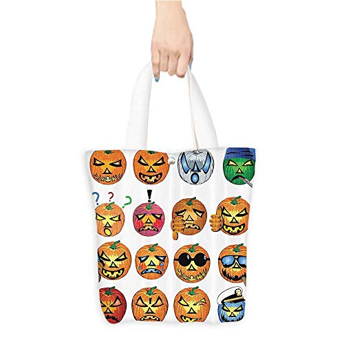 Canvas Tote Bag Carved Pumpkin with Emoji ces Halloween Humor Hipster Msters Harvest Perfect for Shopping, Laptop W11 x H11 x D3 INCH