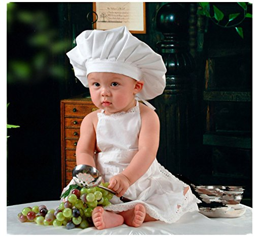 [primerry baby infant photography studio Polypropylene costumes suit(chef hat+apron)] (Baby Chef Costumes)