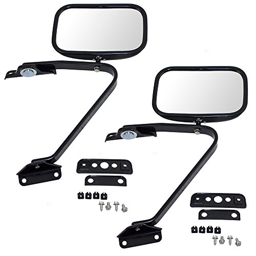 Pair Set Manual Side View Mirrors 5x8 Swing Lock with Plastic Housing Replacement for Ford Pickup Truck SUV E5TZ 17696 A ()