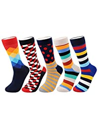 Mens Colorful Socks - Mens Dress Cool Funny Colorful Socks with Comfortable Combed Cotton Crew Socks, 5 Fashion Pairs in Pack