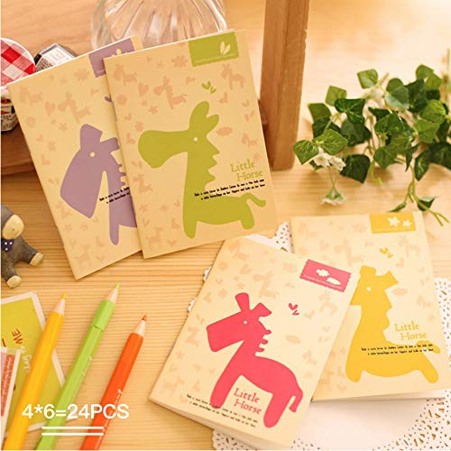 - DEYACE Pack of 24 (120mmx85mm) 4 Styles Pocket Notebook Set Little Horse Pocket Pal Super Mini Journals Portable Steno Note Books Mini Notebooks, Perfect for Journaling, Diary, Note Taking, Soft Cover