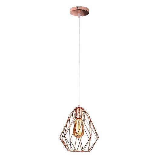 ZZM Lámpara Colgante de suspensión E27, lámpara de Jaula de Hierro ...
