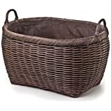 The Basket Lady Oval Wicker Laundry Basket Jumbo (size 1) Antique Walnut Brown