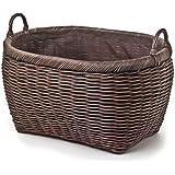 The Basket Lady Oval Wicker Laundry Basket Jumbo (size 1) Antique Walnut Brown