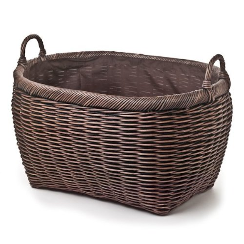 - The Basket Lady Oval Wicker Laundry Basket Jumbo (size 1) Antique Walnut Brown