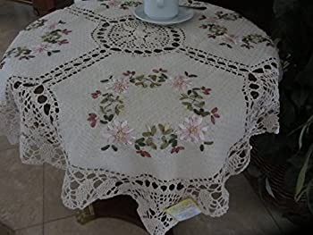"""Tasleffa Elegant 100% Cotton Hand-made Crochet with Ribbon Embroidered Linen Table Toppers: Beige (36""""x 36"""" Round)"""
