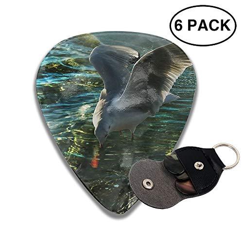 Karen Felix Classic Guitar Pick (6 Packs) Wild Sea Bird Catch Fish Celluloid Guitar Picks Plectrums for Guitar Bass